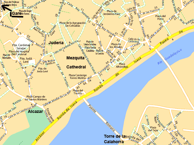 Andalousie Cordoue Cordoba transports carte
