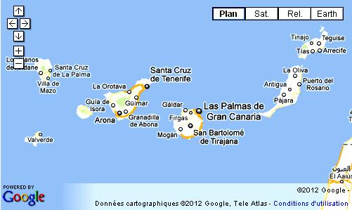 carte europe canaries