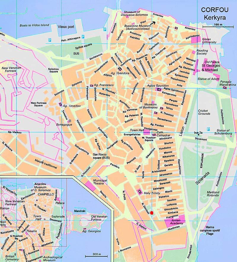 Visiter Corfou : Kerkyra plan, carte et informations