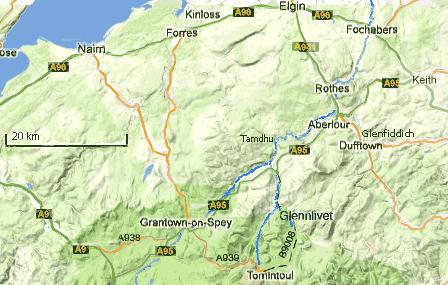 carte des environs inverness- Elgin - spey valley