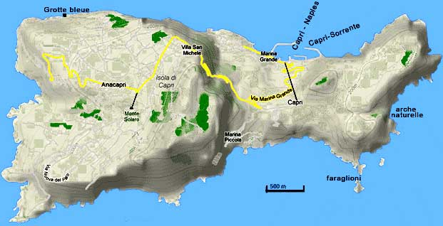 Aeroporto A Capri : Ile de capri carte voyages cartes