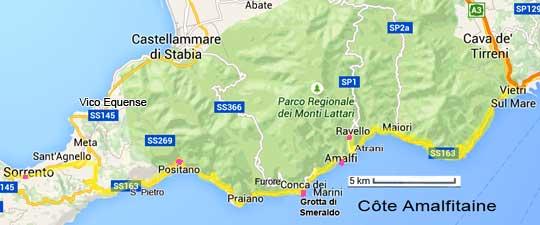 côte Amalfitaine a voir informations cartes