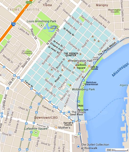 Carte Touristique De New Orleans Quartier Franais