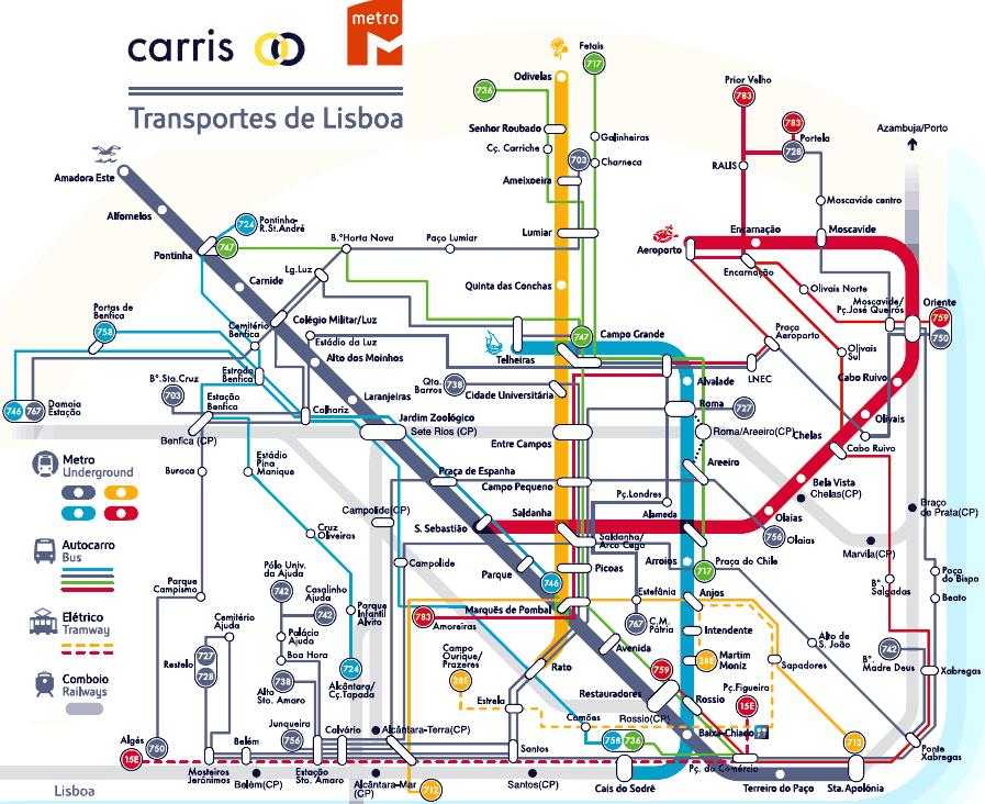 Carte Gnrale Des Transports De Lisbonne Cliquez Pour Agrandir