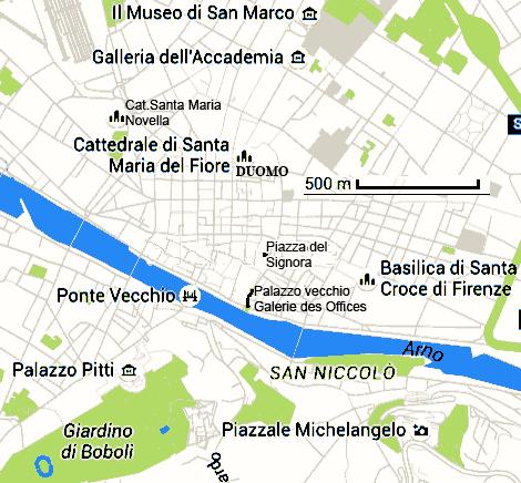 Florence capitale de la Toscane Italie carte
