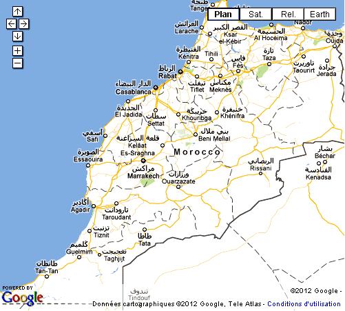 Carte du Maroc ville