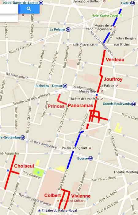 Plan Des Passages Couverts Parisiens Du 9eme Et 2eme Arrondissements
