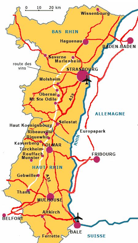 carte de l alsace touristique Alsace Visite informations voyage tourisme cartes vacances