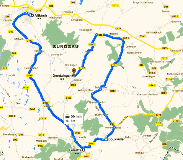 Carte Alsace Sundgau.Alsace Sundgau Carte Tourisme Altkirch Suisse