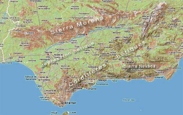 Carte Andalousie Relief.A Savoir Avant De Partir En Voyage Andalousie