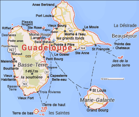 La Guadeloupe cartes informations photos préparer les vacances
