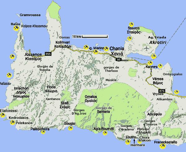 Carte De La Crete Ouest.Crete La Partie Ouest Visite Plages Ports Informations