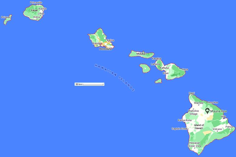 hawaii carte du monde