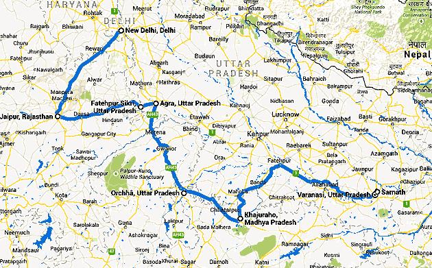 Carte De Linde Avec Region Tracees.Voyage En Inde Du Nord Radjasthan Benares Orchha Kadjuraho