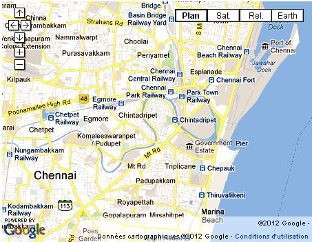Madras Inde Carte.Madras Chennai Capitale Du Tamil Nadu Sud Inde