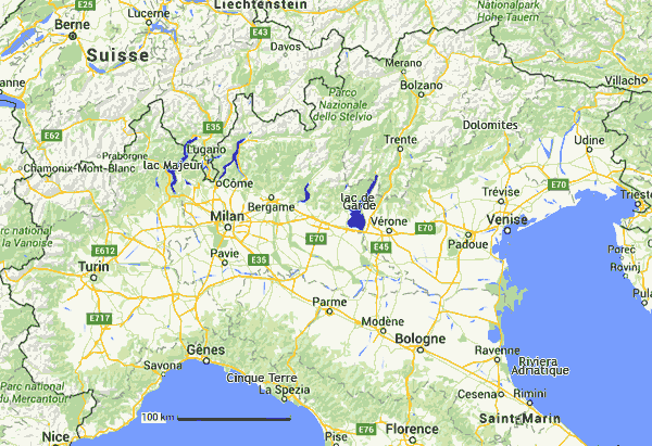 Plans cartes de l'Italie du nord : interactive, zones touristiques