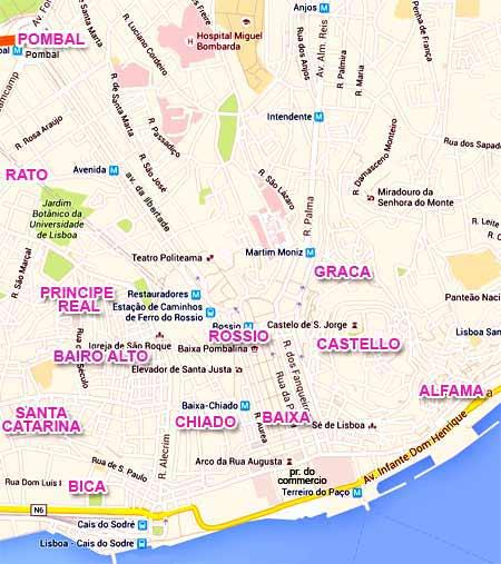 Quartier Baixa Lisbonne Carte.Lisbonne Les Quartiers Les Transports Informations