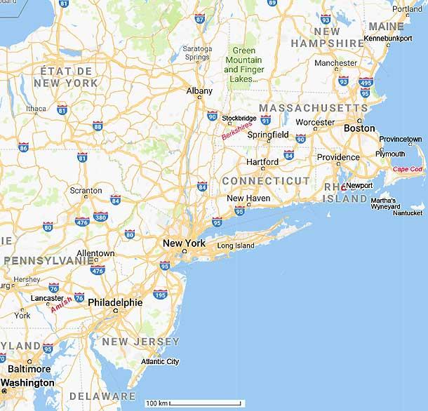 Carte Etats Unis Cote Est.Carte Et Plans Du Nord Est Des Usa