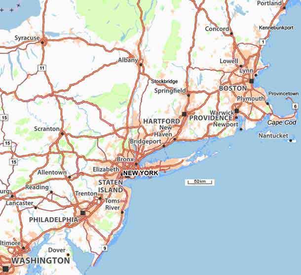 carte cote est usa Carte et plans du nord est des USA