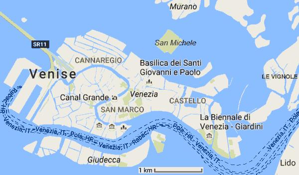 Carte Venise Et Alentours.Cartes Et Plans De Venise Italie